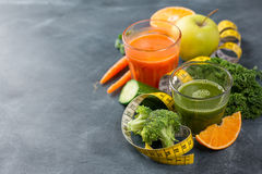 Fresh fruit and vegetable juice. In the glass for detox, selective focus Royalty Free Stock Photography