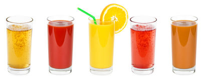 Fresh fruit and vegetable juices Stock Photos