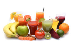 Fresh fruit and vegetable juices Royalty Free Stock Photo