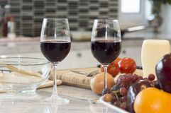 Fresh fruit, vegetable and red wine glass. Royalty Free Stock Photos