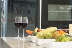 Fresh fruit, vegetable and red wine glass. Royalty Free Stock Photography
