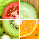 Fresh fruit and vegetable slices. Background. Food concept Stock Photos