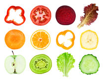 Fresh fruit and vegetable slices Stock Images