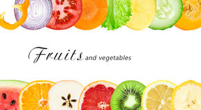 Fresh fruit and vegetable slices. Collection of fresh fruit and vegetable slices on white background. Food concept Stock Photo