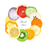 Fresh fruit and vegetable slices. On white background. Food concept Royalty Free Stock Images