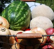 Fresh Fruit and Vegetables. Taken on a farmer's cart Royalty Free Stock Photos