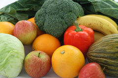 Fresh fruit and vegetables. Fresh, ripe fruit and raw vegetables royalty free stock photo