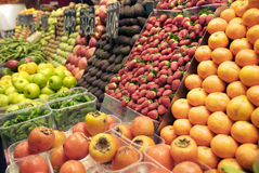 Fresh fruit and vegetables at the Boqueria market Royalty Free Stock Images