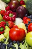 Fresh fruit and vegetables closeup. stock photo