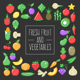 Fresh fruit and vegetables. On dark background, natural and healthy food. Concept vector illustration for your web design or banner for business Royalty Free Stock Image