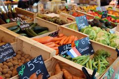 Fresh fruit and vegetables at farmer market in France, Europe. Italian Spanish and French vegetable. Street French market at Nice. Fresh food by local farmers Stock Image