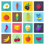 Fresh Fruit and Vegetables Flat Icon Set Stock Image