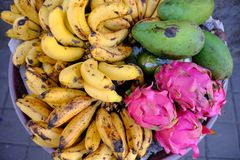 Fresh fruit and vegetables in an Indonesia street market in Ubud, Bali Royalty Free Stock Photography