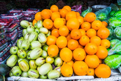 Fresh fruit and vegetables on market Stock Photos