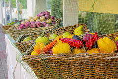 Fresh fruit and vegetables at market stall Royalty Free Stock Image
