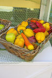 Fresh fruit and vegetables at market stall Royalty Free Stock Photos