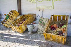 Fresh fruit and vegetables at market stall Stock Photos
