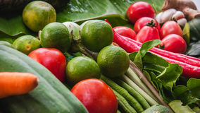 Fresh Fruit And Vegetables. Nice display of freash vegetables and fish Royalty Free Stock Photography