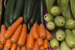 Organic fresh vegetables and fruit. Fresh fruit and vegetables, source of health Stock Images