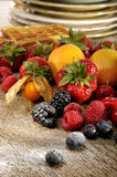 Fresh fruit and waffles Stock Photography