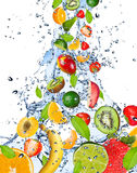 Fresh fruit. In water stock photos