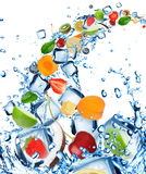 Fresh fruit in water splash Stock Images