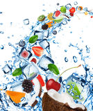 Fresh fruit in water splash Royalty Free Stock Images