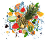 Fresh fruit in water splash Stock Photos