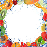 Fresh fruit with water splash Stock Photography