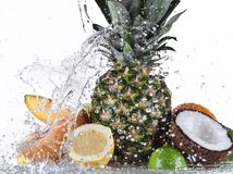 Fresh fruit with water splash Stock Photos