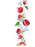 Fresh fruit with water splash. Over white background stock photos