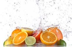 Fresh fruit with water splash Stock Images
