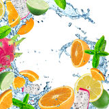 Fresh fruit with water splash Royalty Free Stock Images
