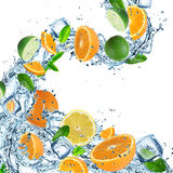Fresh fruit with water splash. On the white background Stock Photo