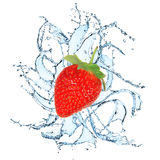 Fresh fruit with water splash. On the white background Stock Photos
