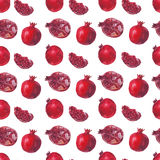 Fresh fruit watercolor pomegranate on a white background Royalty Free Stock Images
