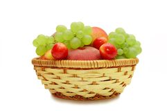 Fresh fruit in a wattled basket Royalty Free Stock Photo