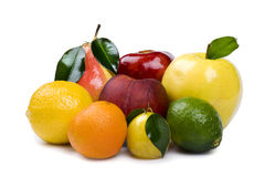 Fresh fruit on white background Royalty Free Stock Images