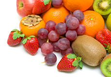 Fresh fruit on a white background. Top view. Royalty Free Stock Image