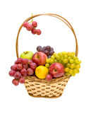 Fresh fruit in a wicker basket. Royalty Free Stock Images