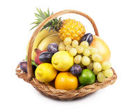 Fresh fruit in a wicker basket Royalty Free Stock Image