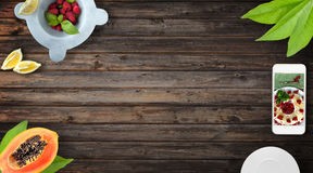 Fresh Fruit Wood Background Stock Images