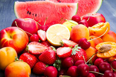 Fresh fruit on wooden table Royalty Free Stock Photo