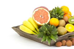 Fresh fruit on a wooden tray Royalty Free Stock Images