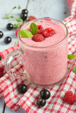 Fresh fruit yogurt with berries Stock Photos