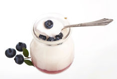 Fresh fruit yogurt with blueberries Stock Photos