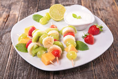 Fresh fruit and yogurt sauce Stock Photos