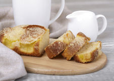 Fresh fruitcake and coffee. Tasty fruitcake, fresh baking, coffee and cream Stock Photos