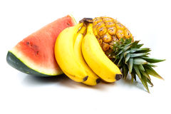 Fresh fruits. A lot of delicious fresh fruits on white background royalty free stock images