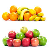 Fresh fruits. Fresh fruits banana , apple and orange. Isolated over white background stock images